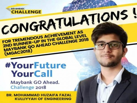 CONGRATULATIONS to Br. Mohammad Huzaifa Fazal from Kulliyyah of Engineering