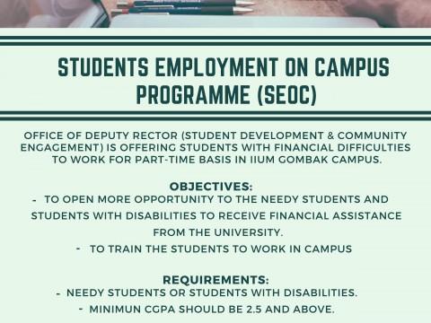 STUDENT EMPLOYMENT ON CAMPUS (SEOC) PROGRAMME