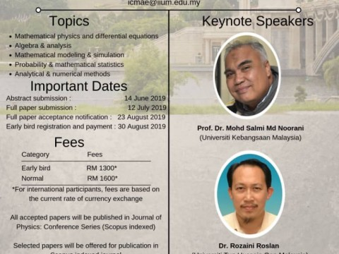 CALL FOR PAPER: 5th International Conference on Mathematical Applications in Engineering (ICMAE'19)