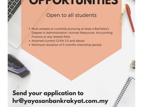 INTERNSHIP OPPORTUNITIES : BANK RAKYAT