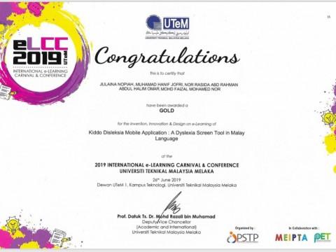 Congratulations!! IIUM Pagoh Achievement: Dr Julaina Binti Nopiah Won a Gold Medal in ELCC2019