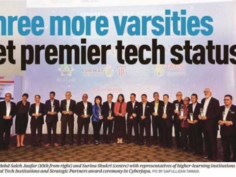 Three more varsities get premier tech status
