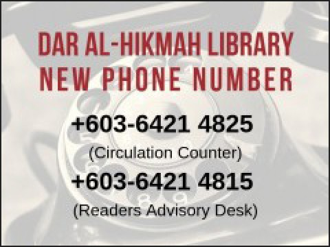 IIUM Dar al-Hikmah Library new telephone number
