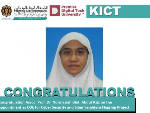 Congratulation on the appointment of Assoc. Prof. Dr. Normaziah Binti Abdul Aziz
