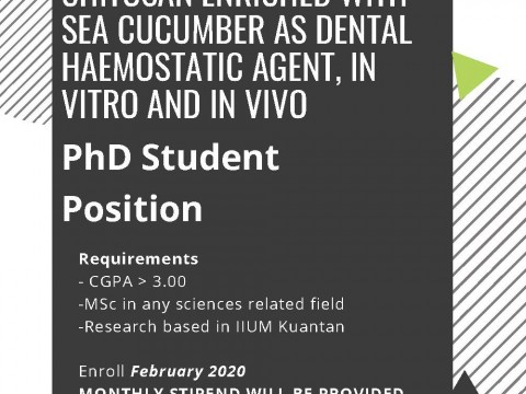 PhD position: International Islamic University Malaysia (IIUM Kuantan Campus)
