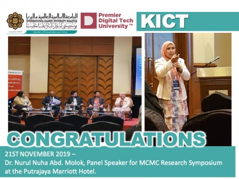 Panel Speaker for MCMC Research Symposium - Dr. Nurul Nuha Abd. Molok
