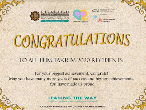 Congratulations to KAHS staff for winning awards at IIUM Takrim Day