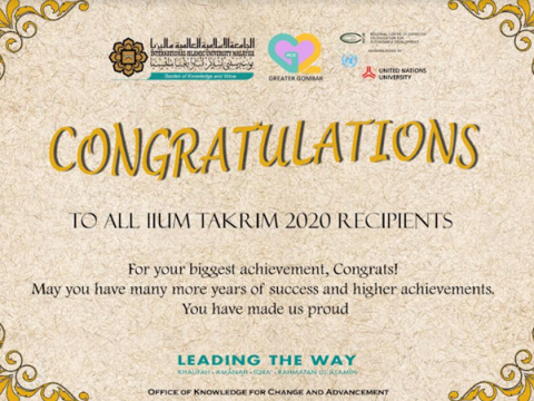 CONGRATULATIONS TO AWARD RECIPIENTS IIUM TAKRIM 2020