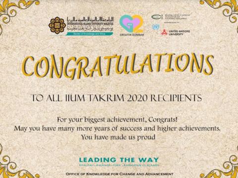 CONGRATULATIONS TO AWARD RECIPIENTS IIUM TAKRIM 2020