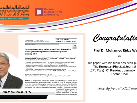 Congratulations to Prof. Dr. Mohamed Ridza Wahiddin