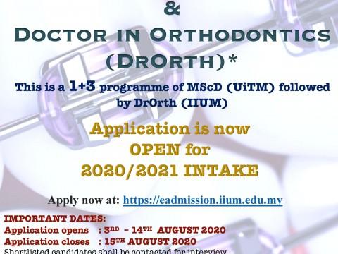 Doctor in Orthodontics (DrOrth) IIUM Programme is Now Open for 2020/2021 Intake