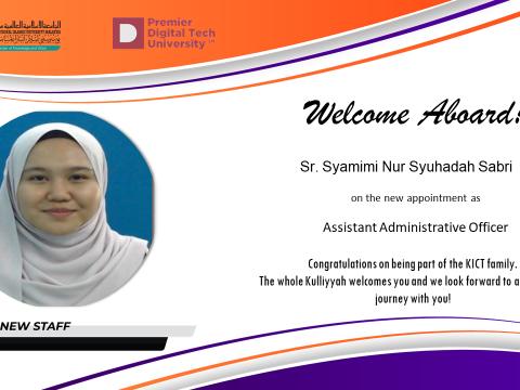 Welcome Sr. Syamimi Nur Syuhadah Sabri to KICT