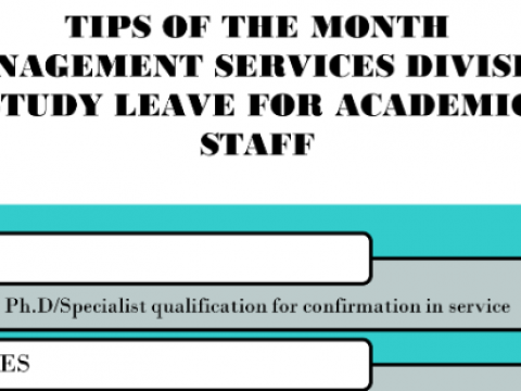 Tips of the Month - Study Leave for Academic Staff