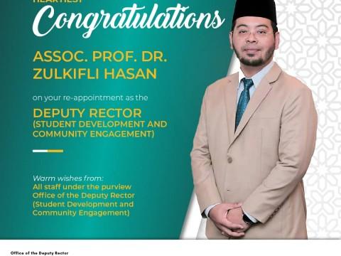 HEARTIEST CONGRATULATION - ASSOC. PROF. DR. ZULKIFLI HASAN