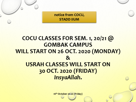 DATES FOR COCU AND USRAH CLASSES FOR SEM. 1, 20/21