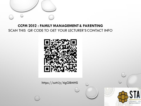 CCFM 2052 : Family Management & Parenting Trainer's Contact Info for Semester 1, 2020/2021 Session