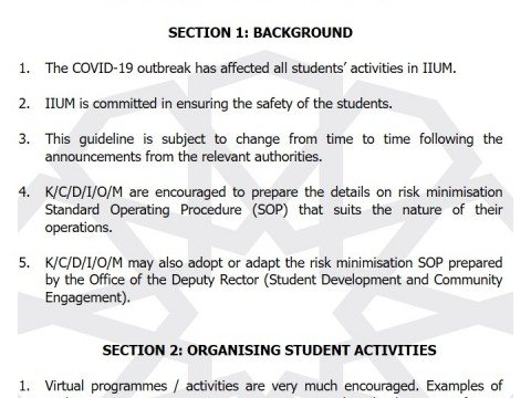 GUIDELINES FOR STUDENTS ACTIVITIES DUE TO THE RECOVERY MOVEMENT CONTROL ORDER 03/2020