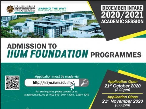 ADMISSION TO IIUM FAOUNDATION PROGRAMMES