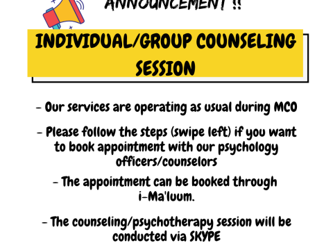 COUNSELING SESSION WILL BE OPERATING AS USUAL DURING MCO