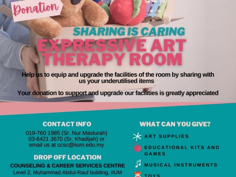 CALLING FOR DONATIONS: EXPRESSIVE ART THERAPY ROOM