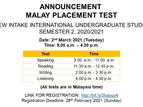 Malay Placement Test (MPT), New Intake International Students Sem 2, 2020/2021