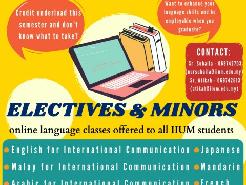 Electives & Minors online language classes offered to all IIUM students