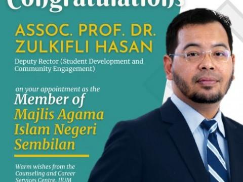 Heartiest Congratulations to Assoc. Prof. Dr. Zulkifli Hasan