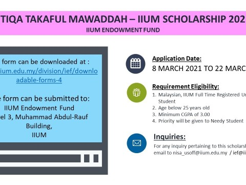 ETIQA TAKAFUL MAWADDAH - IIUM SCHOLARSHIP 2021