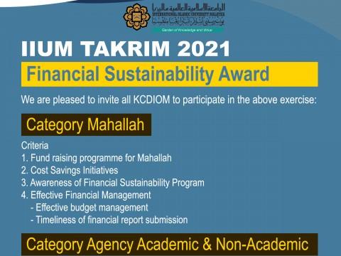 FINANCIAL SUSTAINABILITY AWARD - IIUM TAKRIM 2021