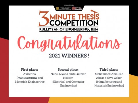 3MT - Congratulations to 2021 Winners!
