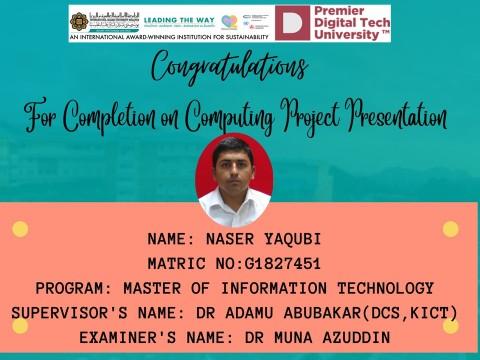 Congratulations to Br. Naser Yaqubi