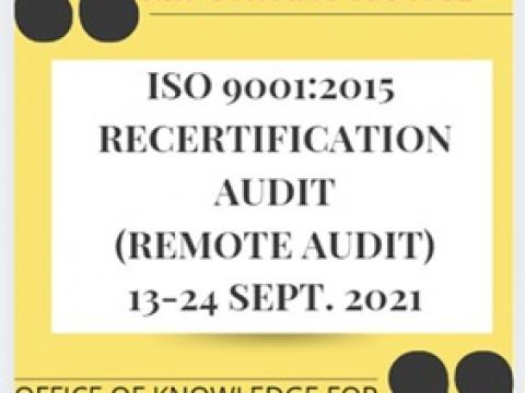 ISO 9001:2015 Recertification Audit (Remote Audit)