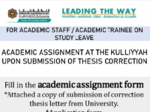 Tips of the Month : Academic Assignment at the Kulliyyah upon Submission of Theses Correction