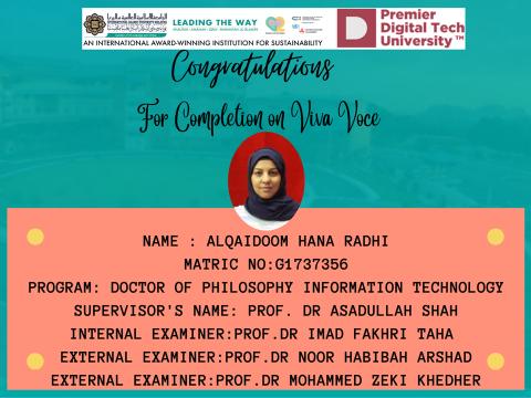 Congratulations to Sr. Alqaidoom Hana Radhi