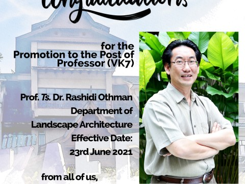 Congratulations to Prof. Ts. Dr. Rashidi Othman