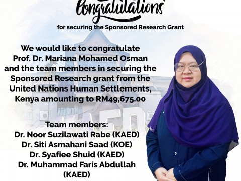 Congratulation for securing the Sponsored Research Grant!