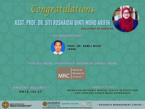 CONGRATULATIONS! Dr Siti Roshaidai