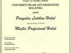 CERTIFIED TRAINING PROVIDER UNDER HALAL PROFESSIONAL BOARD JAKIM