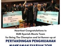 Heartiest congratulations to IIUM Syariah moots team for Being The Champion and 1st Runner-up at PERTANDINGAN PENGHUJAHAN MAHKAMAH SYARIAH 2018 is USIM