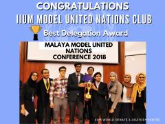 IIUM MUN Delegate received the Best Delegate Award.