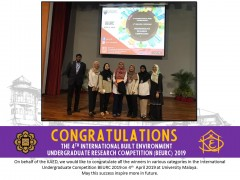 Congratulations to the winners of The 4th International Built Environment Undergraduate Research Competition (BEURC) 2019