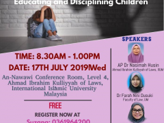 """WORKSHOP :""""IS PHYSICAL DISCIPLINE NECESSARY IN EDUCATING  CHILDREN?: PROPOSING LEGAL GUIDELINES FOR  EDUCATING AND DISCIPLINING CHILDREN"""""""