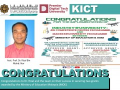 Congratulations to Dr. Rizal and the teams on their success in securing two grants awarded by the Ministry of Education Malaysia (MOE)