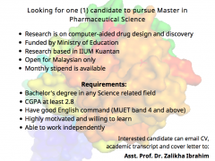 Vacancy for Master's Degree in Pharmaceutical Chemistry