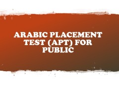 ARABIC PLACEMENT TEST (APT) #3, SEM 1, 2019/2020 (FOR GRADUATING STUDENTS ONLY)