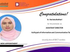 Congratulations to Sister Narieta Bt. Bukhari