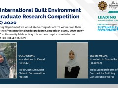 Congratulations to the winners of The 5th International Built Environment Undergraduate Research Competition (BEURC) 2020