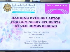 10 July 2020 Handing Over of Laptop for IIUM Needy Students by CEO MIMOS Berhad