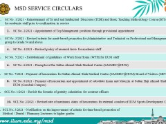 MSD Service Circulars and MSD Service Circular Letters