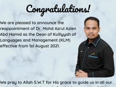 CONGRATULATIONS OF KLM DEAN REAPPOINMENT